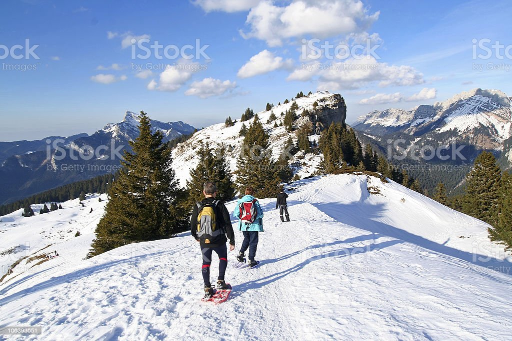 trekking in the alps stock photo