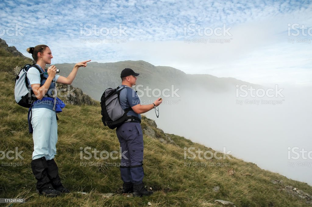 Trekking in the English Lake District stock photo