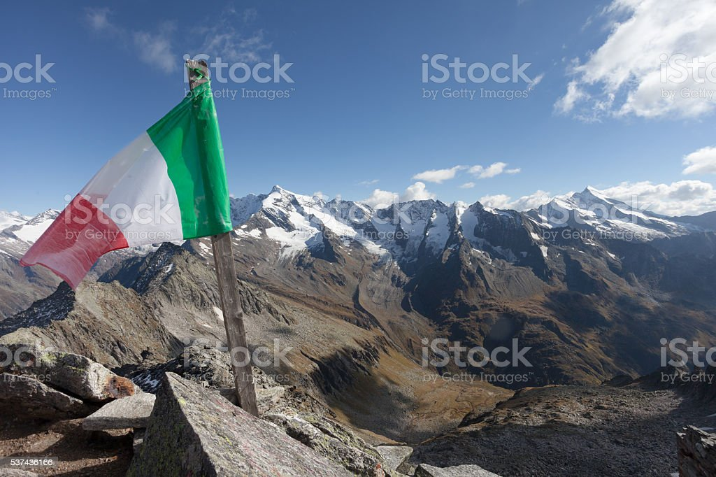 trekking in the Italian Alps; it's autumn with no people stock photo