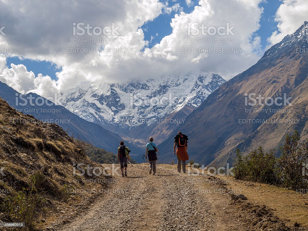 Trekking in the Peruvian Andes stock photo