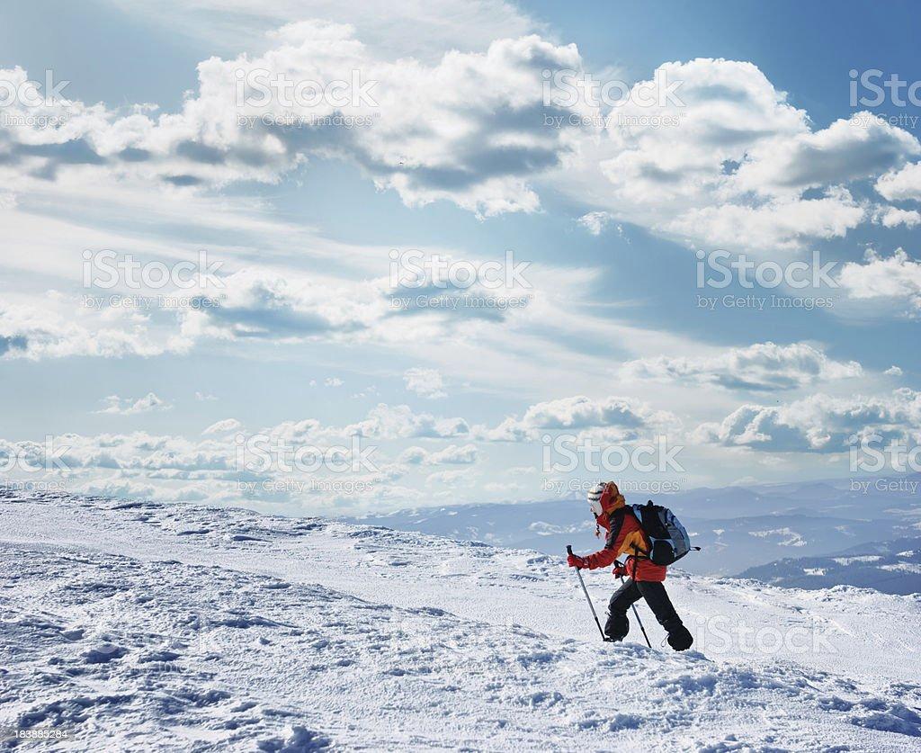 trekking in winter royalty-free stock photo