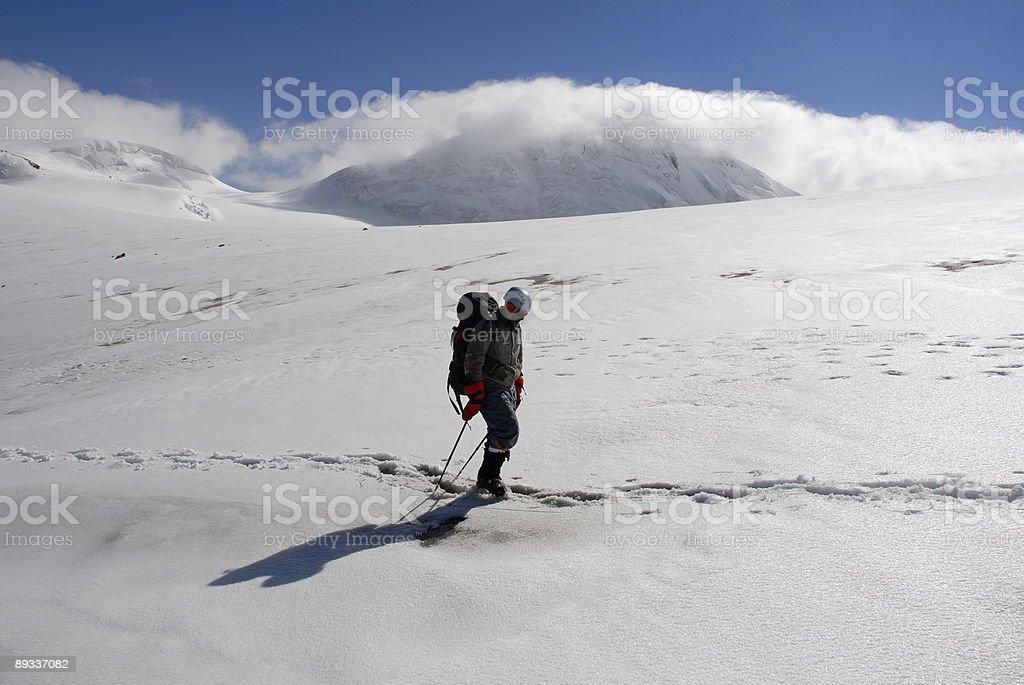 Trekking  on a glacier. royalty-free stock photo