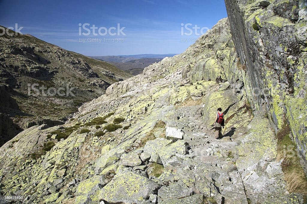 trekking on the rock valley royalty-free stock photo