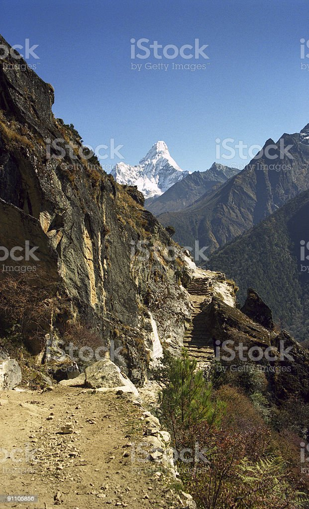 Trekking path in the Himalaya royalty-free stock photo