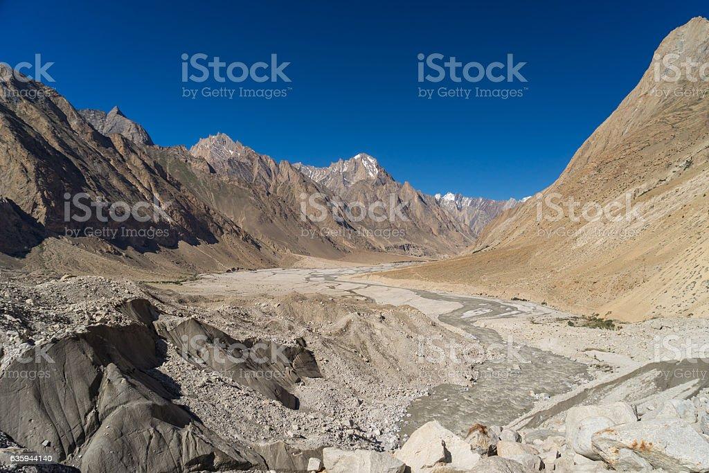 K2 trekking route landscape and Baltoro glacier, Skardu, Gilgit, Pakistan stock photo
