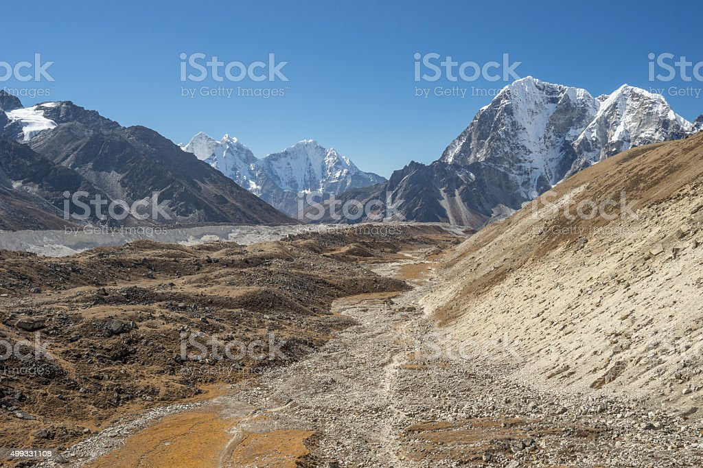 Trekking route to Everest base camp stock photo
