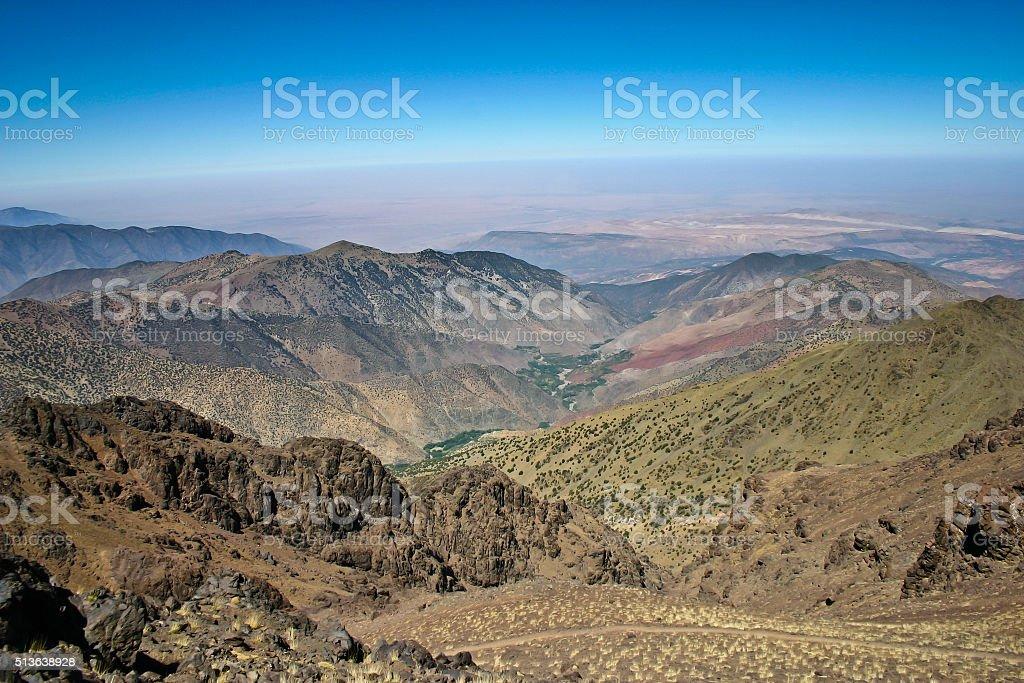 Trekking route to Toubkal, Atlas mountains in Morocco stock photo