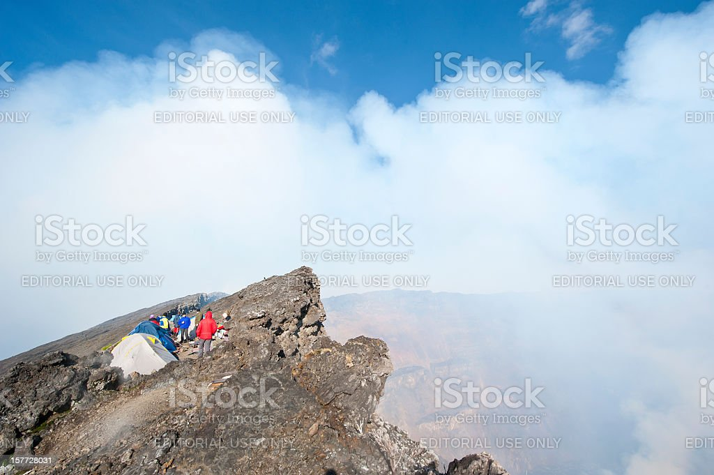 Trekking tourists in their camp at summit of Mount Nyiragongo stock photo