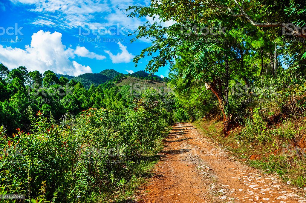 Trekking towards the hill tribe villages in Kalaw, Myanmar stock photo