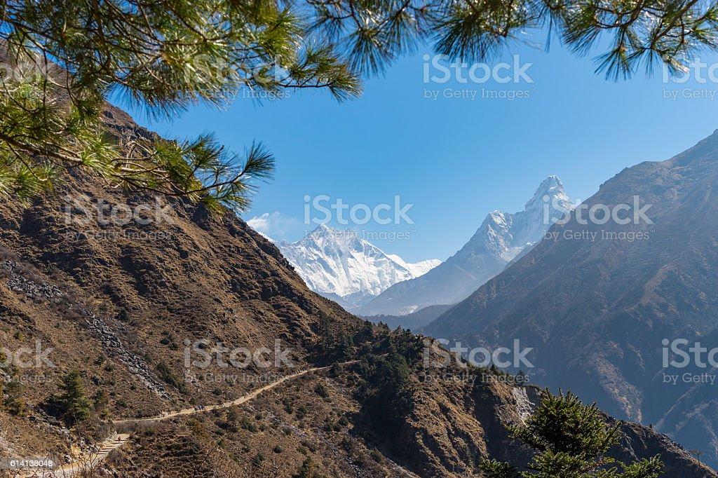 Trekking trail in Everest region stock photo