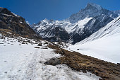 Trekking trail in front of Machapuchre mountain, Anapurna base camp