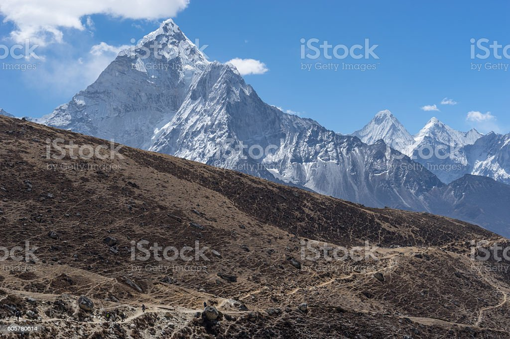 Trekking trail to Thukla pass, Everest region stock photo