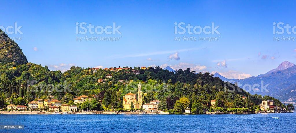 Tremezzo Tremezzina panoramic view, Como Lake district landscape stock photo