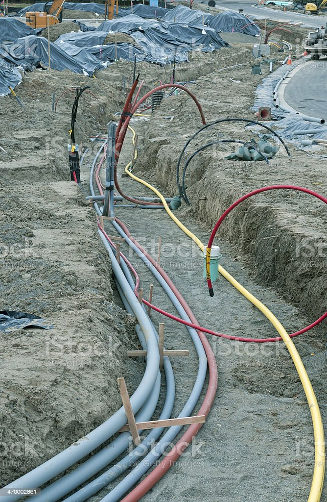 Trench dug at construction site for gas and electric lines royalty-free stock photo