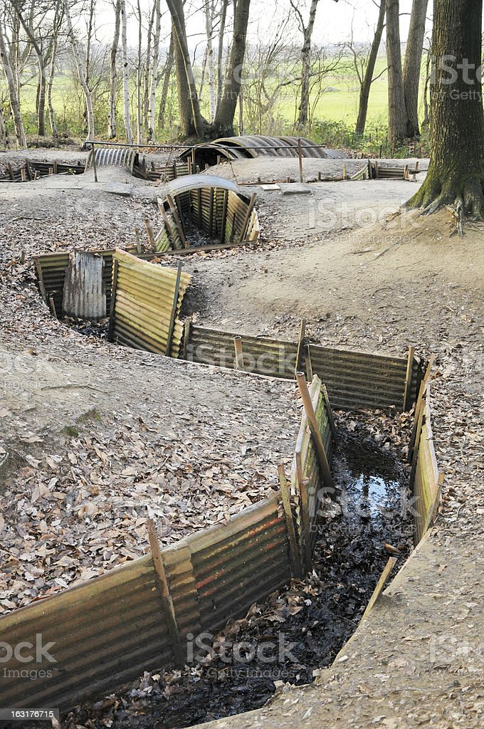 WW1 Trench, Sanctuary Wood, Ypres, Belgium royalty-free stock photo