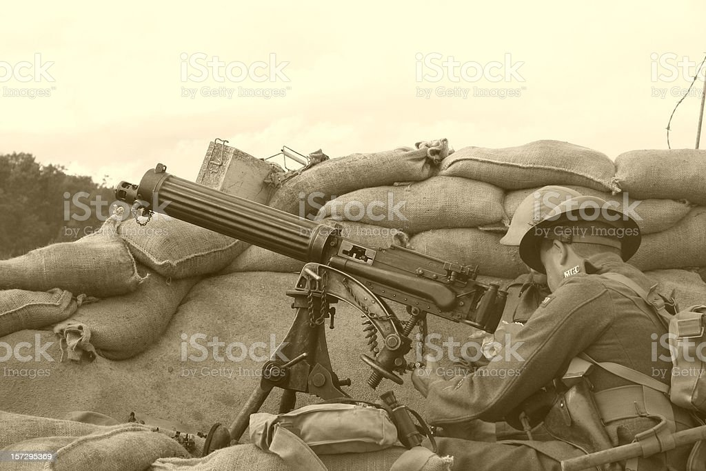 WWI Trench Sepia stock photo