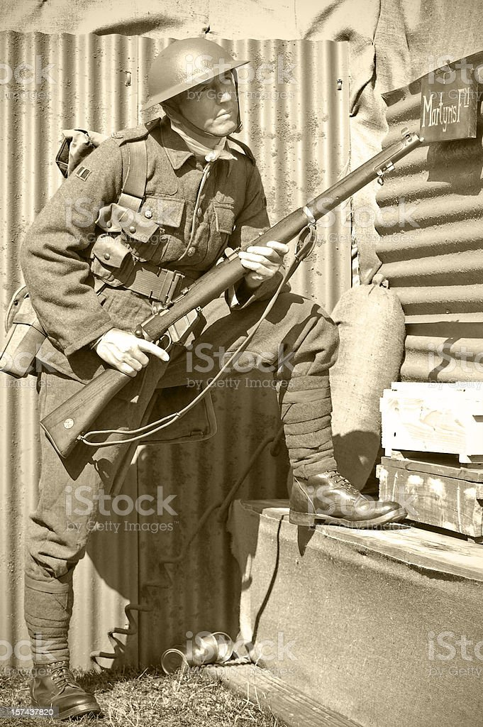 Trench soldier stock photo