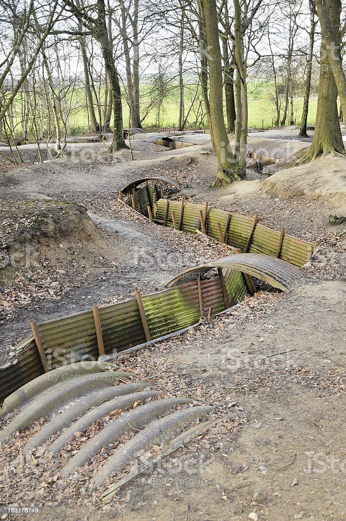 WW1 Trenches In Flanders, Ypres, Belgium royalty-free stock photo