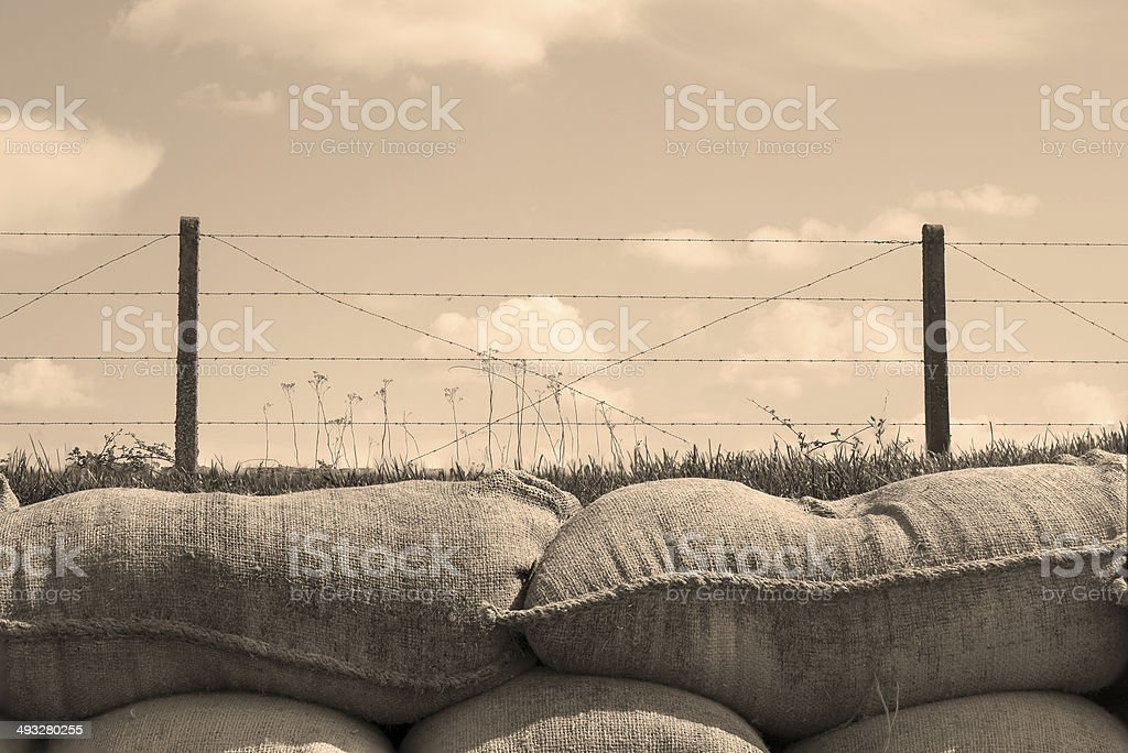 Trenches of death world war one sandbags in Belgium stock photo