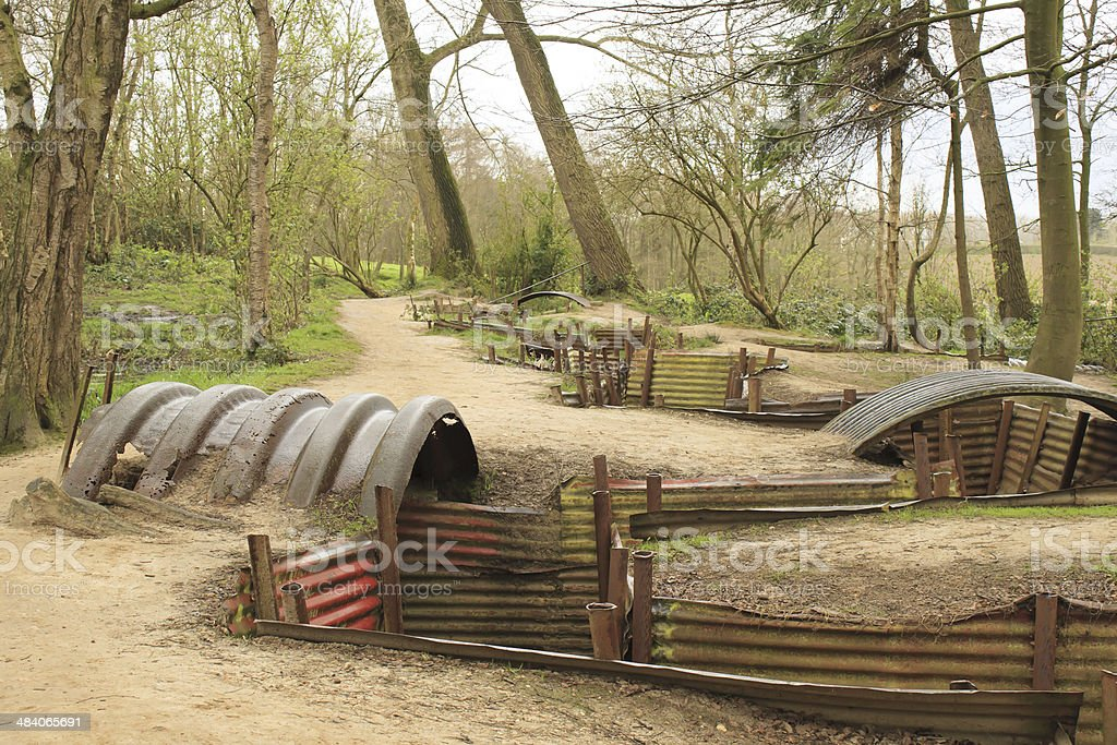 trenches of the First World War battlefield belgium stock photo