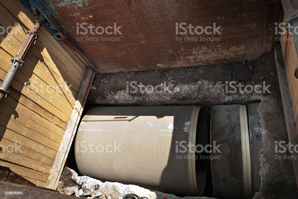 Trenchless sewer renowation royalty-free stock photo