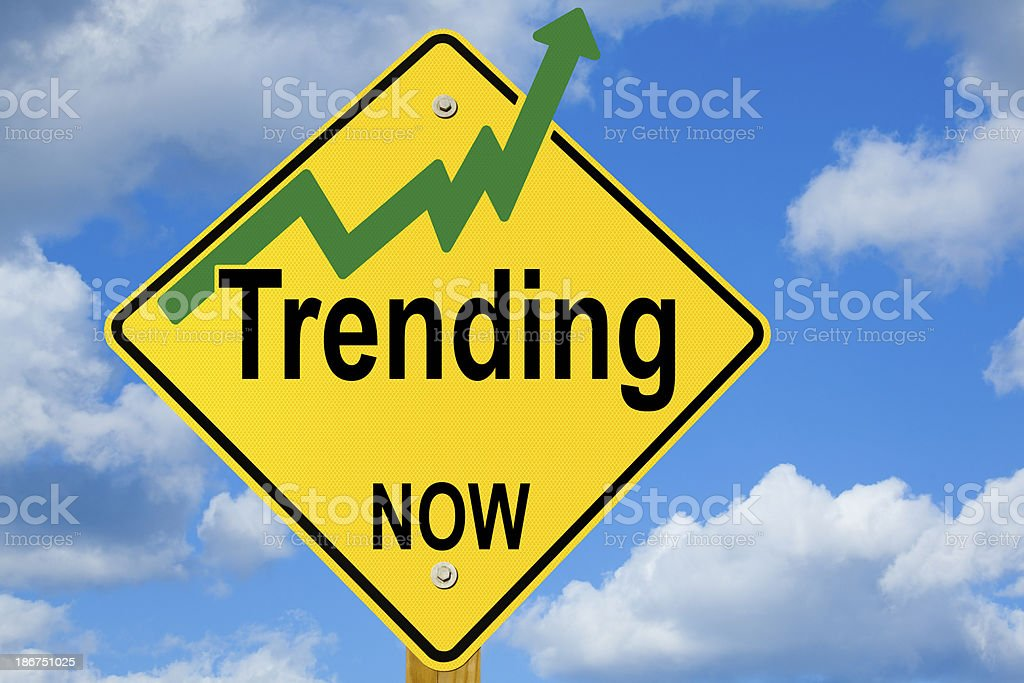 Trending Now Road Sign With Upward Arrow royalty-free stock photo