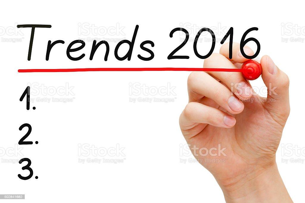 Trends 2016 List Concept stock photo