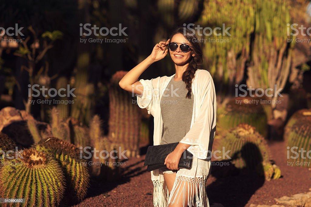 trendy beautiful girl stock photo