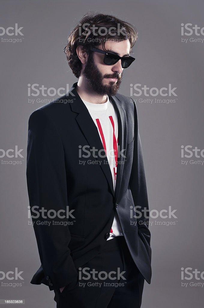 Trendy boy with beard stock photo