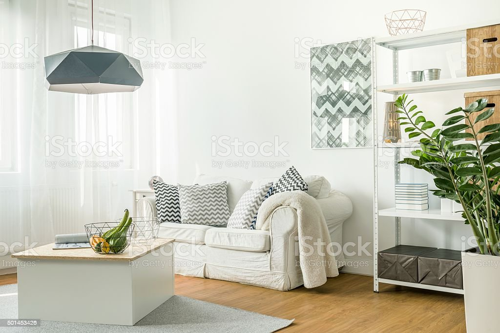 Trendy details in living room stock photo