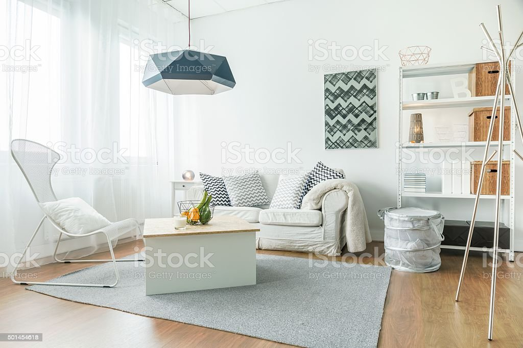 Trendy furniture in room stock photo