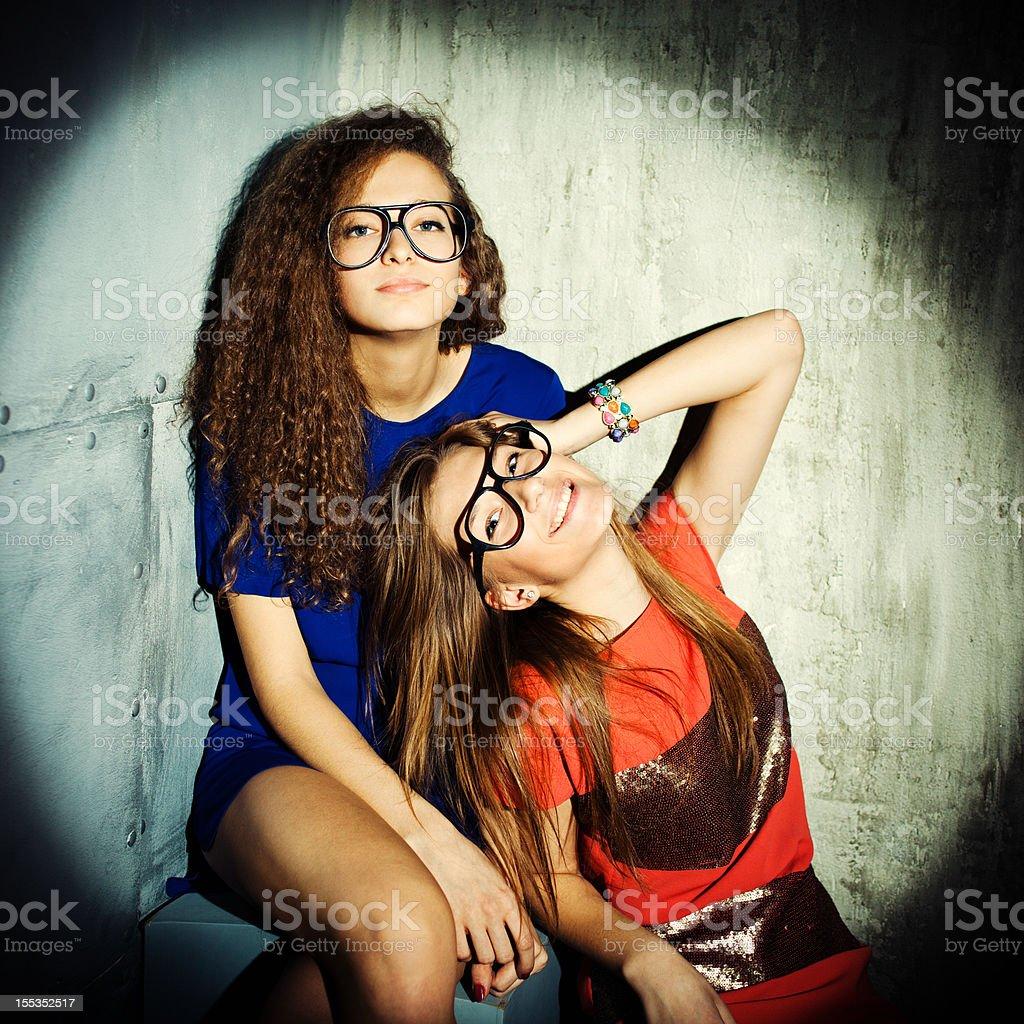 Trendy girls royalty-free stock photo