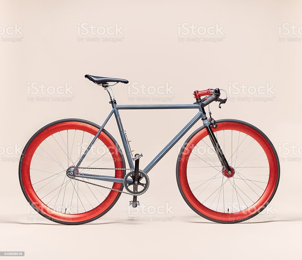 Trendy Grey and Red bicycle stock photo