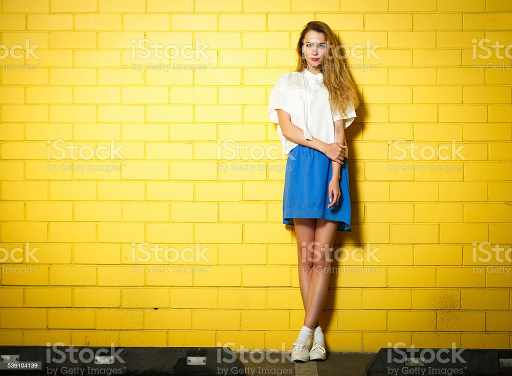 Trendy Hipster Girl at the Brick Wall stock photo