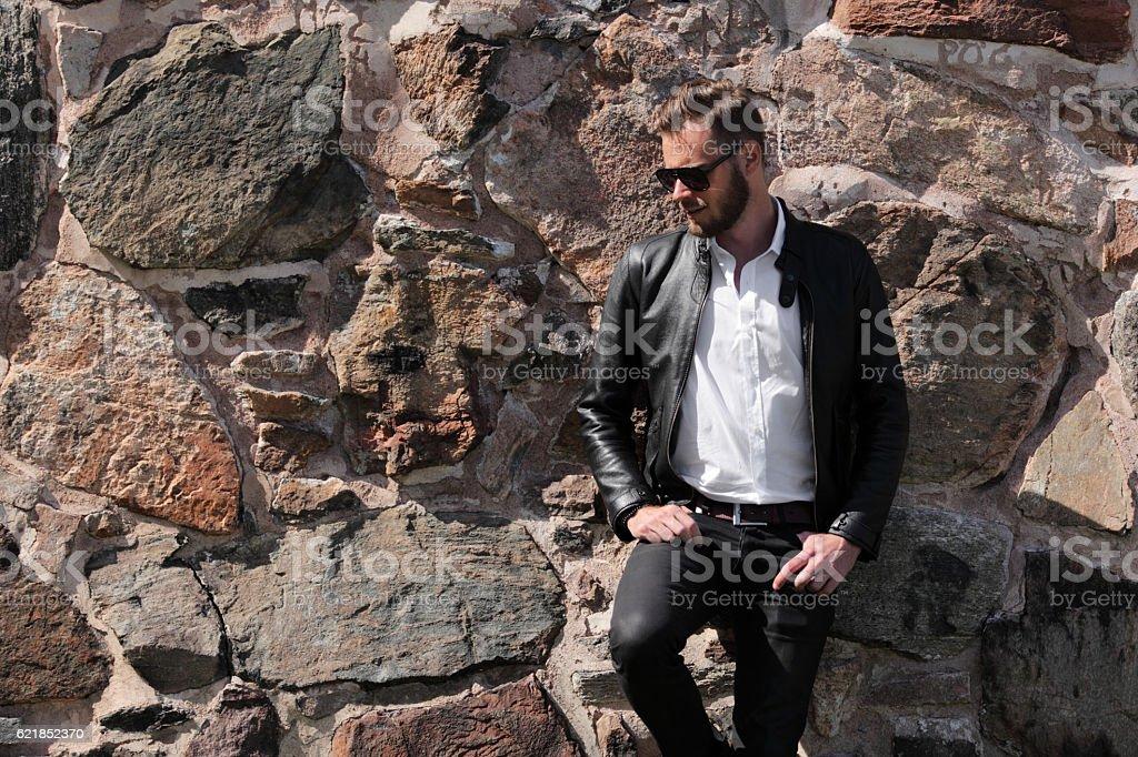 Trendy man looking away stock photo