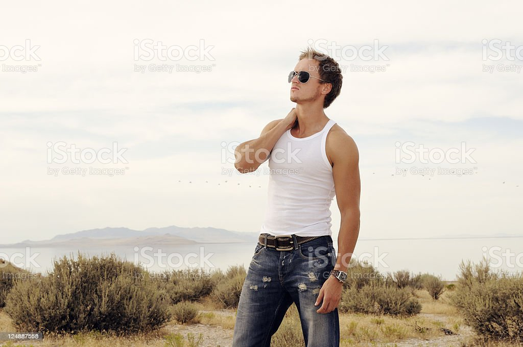 Trendy Muscular Male Model In Great Outdoors royalty-free stock photo