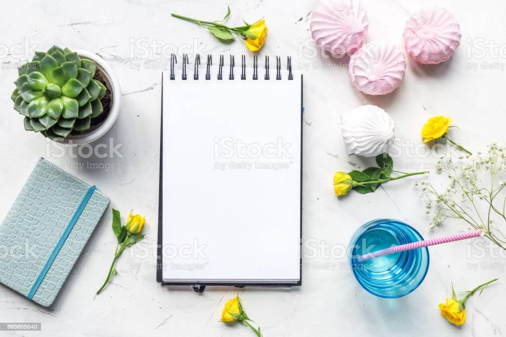 trendy office desk with roses marble background top view space for text stock photo