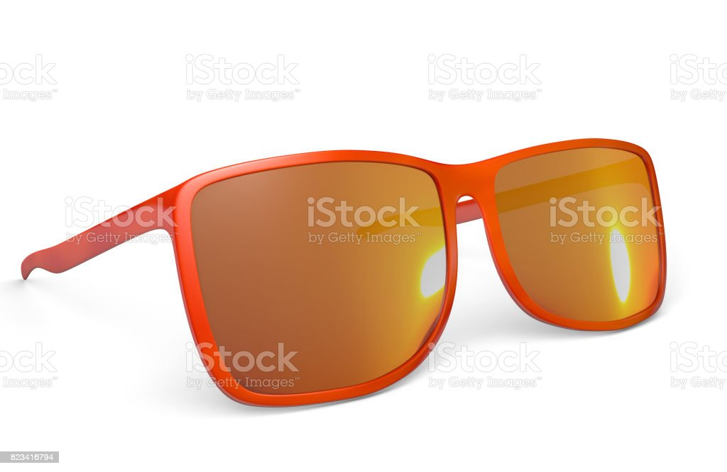 Trendy red sunglasses on a white background, 3D rendering stock photo
