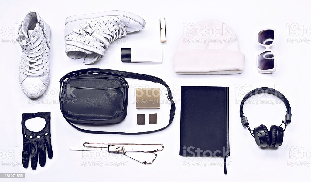 Trendy stylish youth black and white set stock photo