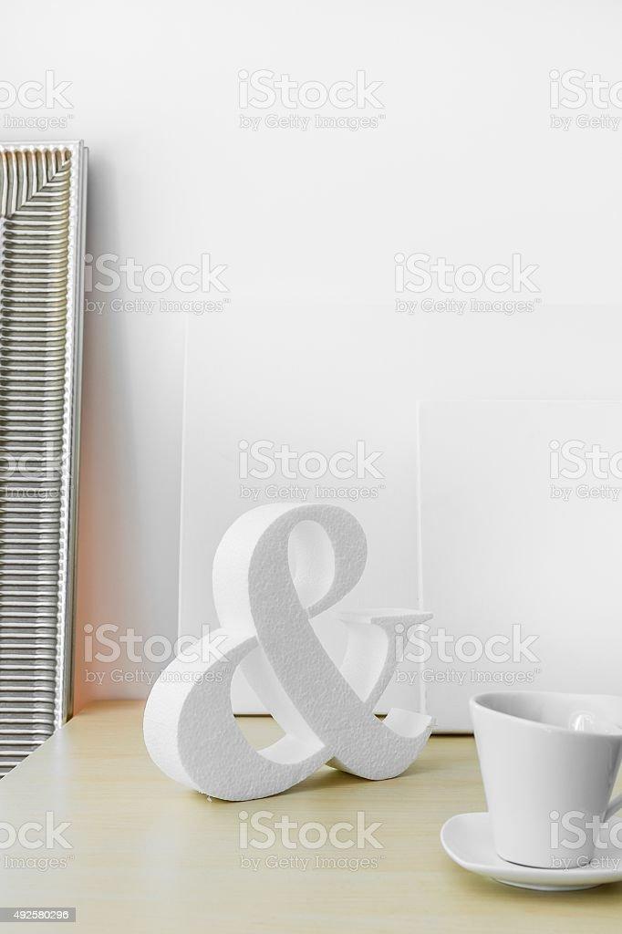 Trendy white decoration stock photo