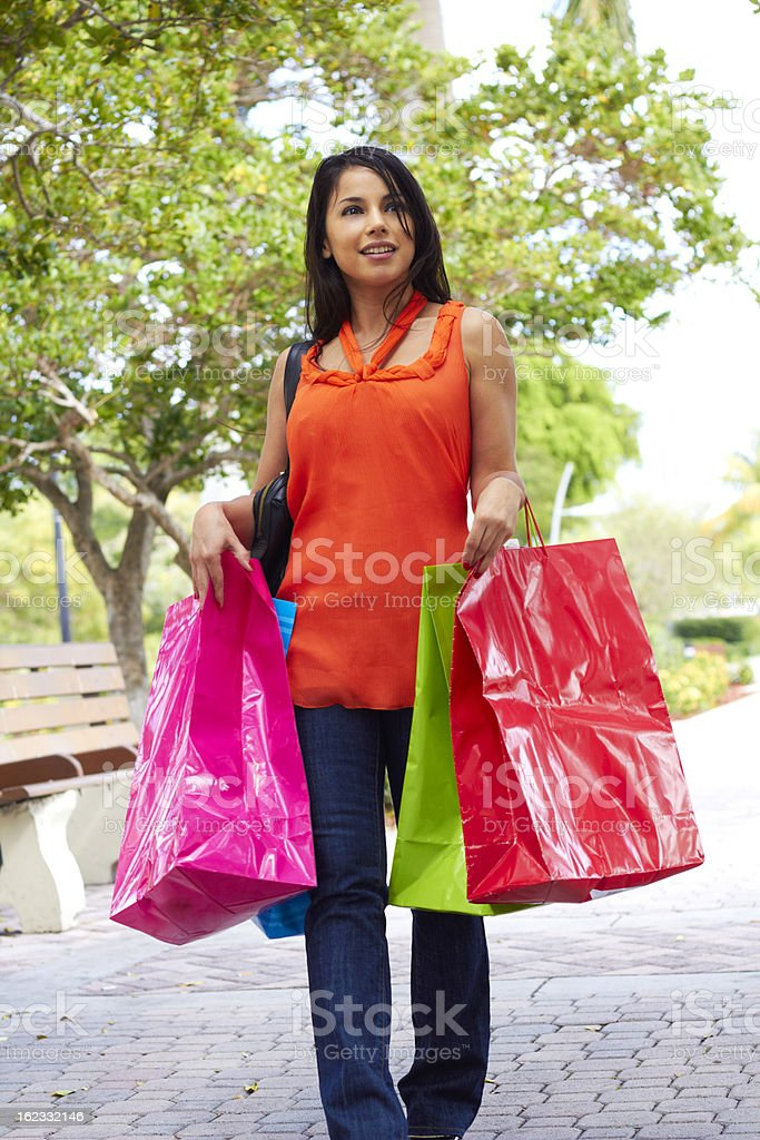 Trendy Woman With Shopping Bags royalty-free stock photo