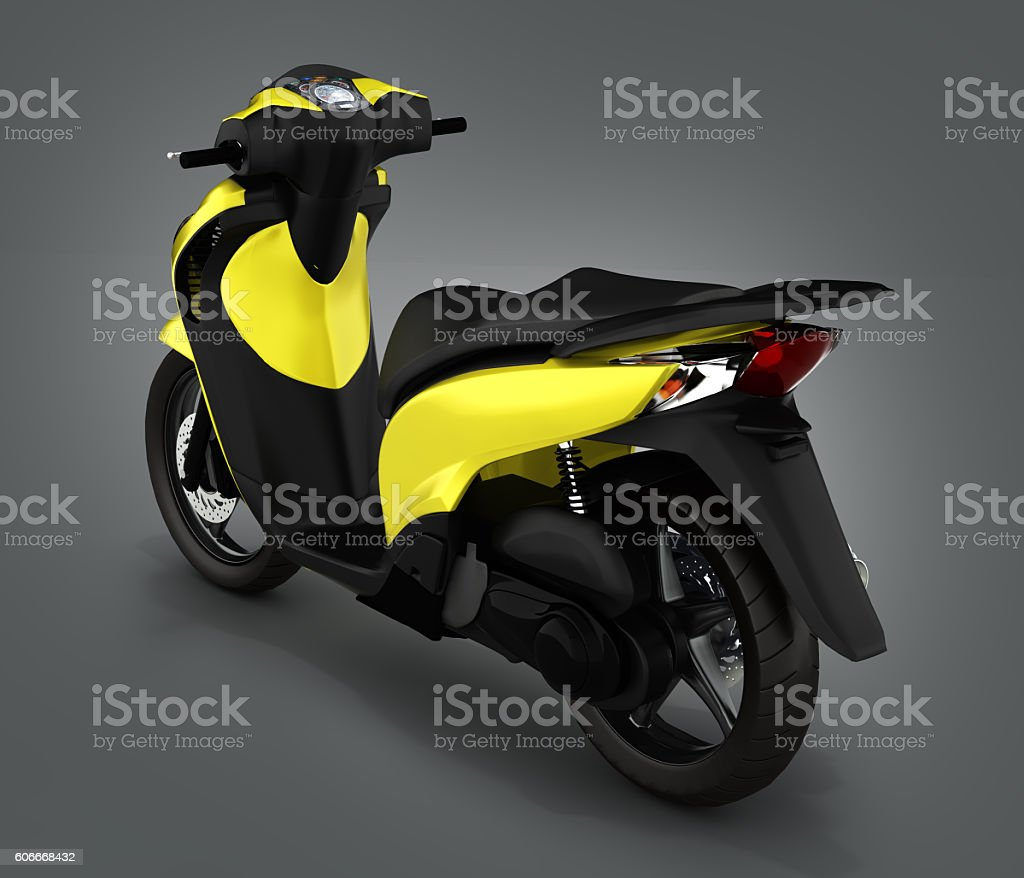 Trendy yellow scooter on gray gradient background 3d render stock photo