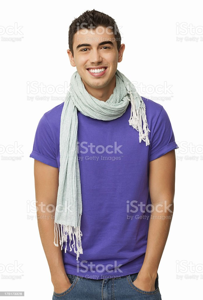 Trendy Young Man Standing With Hands In Pockets - Isolated royalty-free stock photo