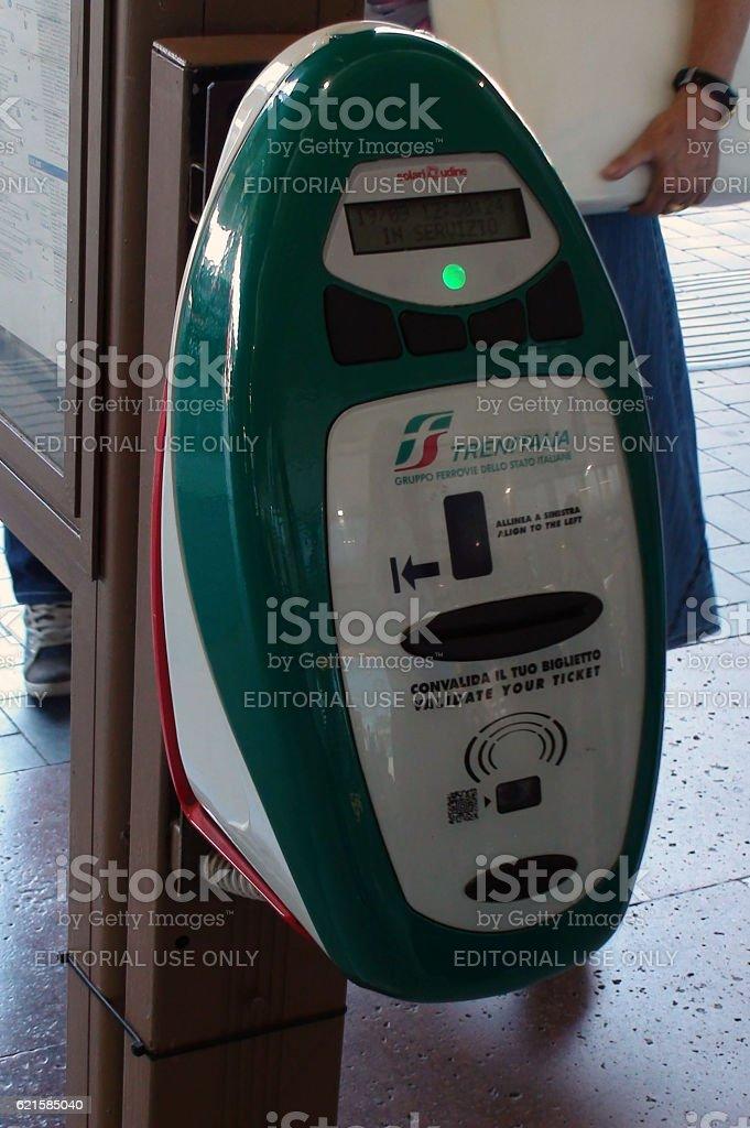 Trenitalia Ticket Validation Machine Scenery In Venice Italy stock photo