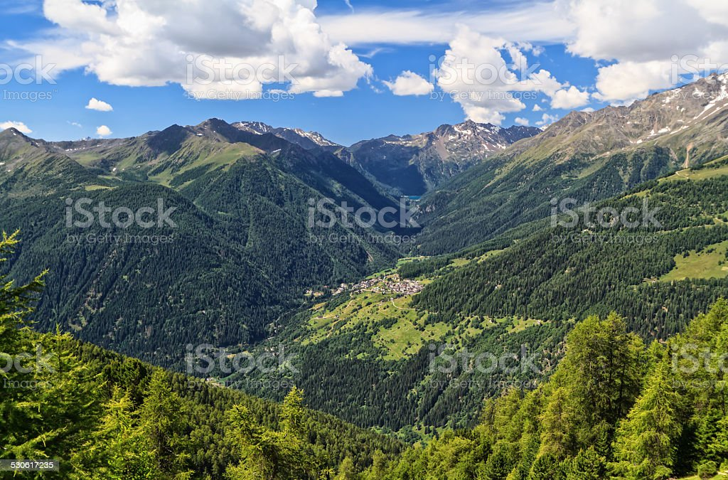 Trentino - Pejo valley overview stock photo