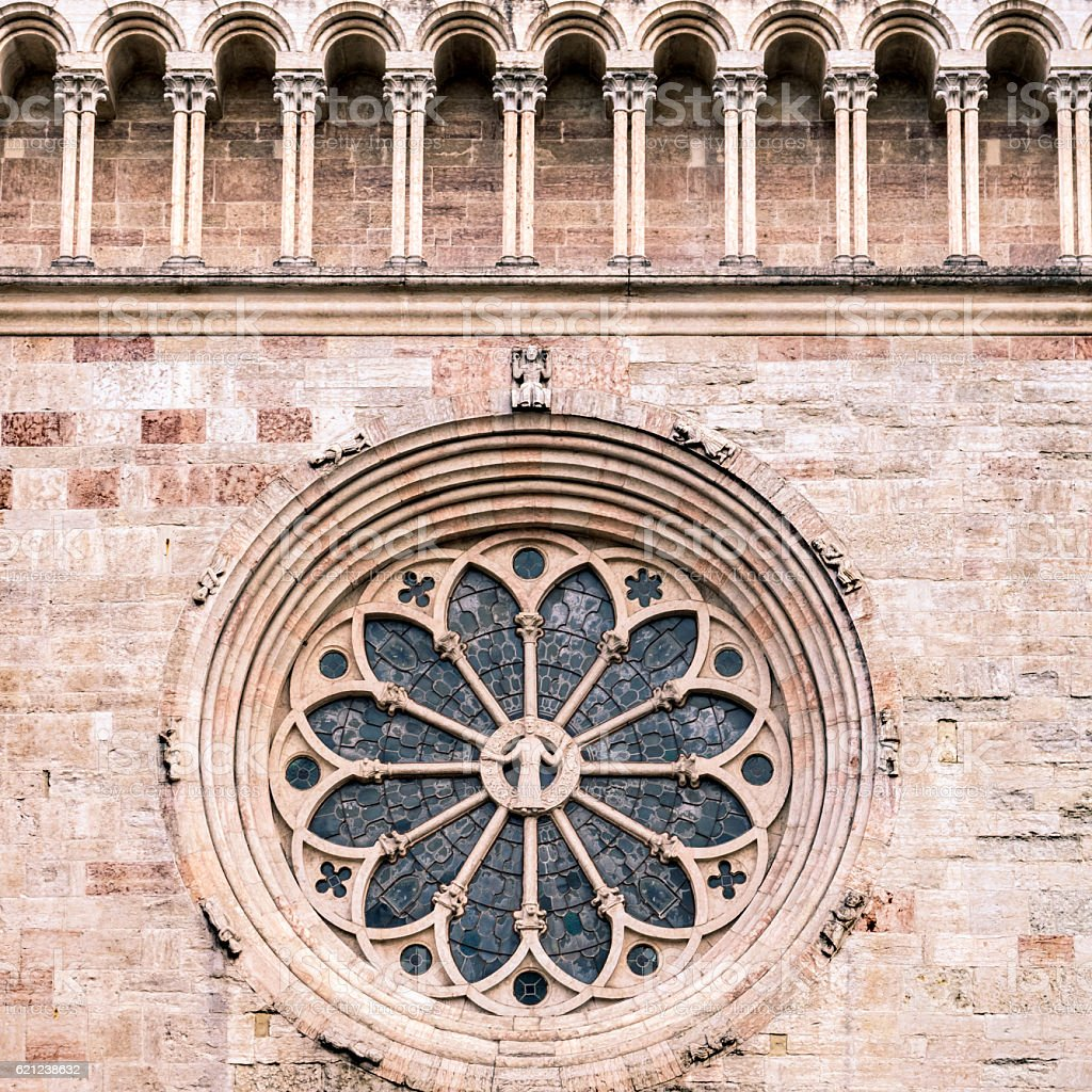 Trento Cathedral. Detail of the rosette. stock photo