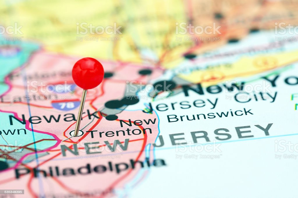 Trenton pinned on a map of USA stock photo