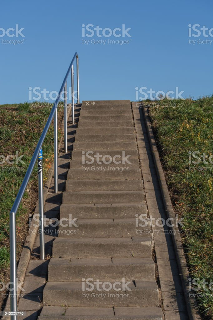 Treppen zum Fluß stock photo