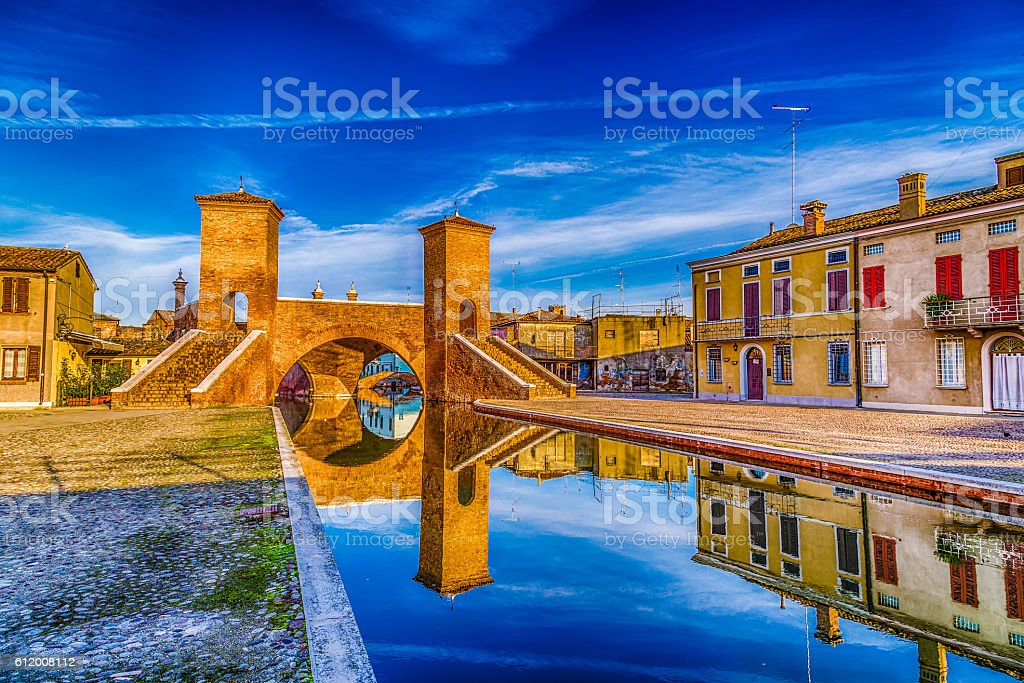Trepponti bridge in Comacchio, the little Venice stock photo