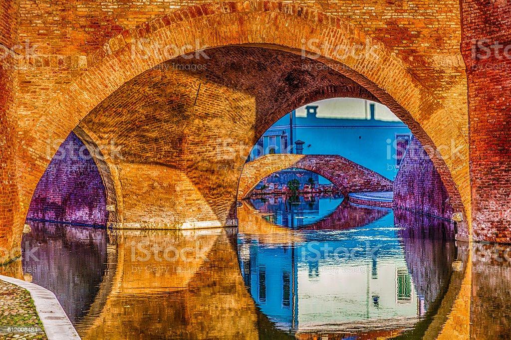 Trepponti bridge in Comacchio, the little Venice stock photo